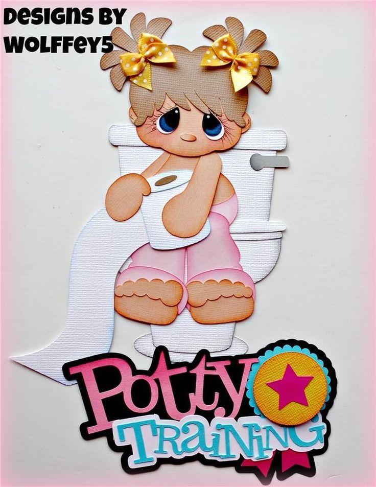 ELITE4U GIRL POTTY TITLE paper piecing premade scrapbook page album WOLFFEY5