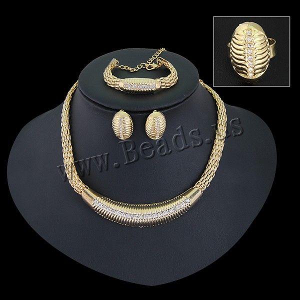 Parures de bijoux en alliage zinc, bague, anneau & Bracelet & boucle d'oreille , plomb et cadmium, 25cm, 45cm, Taille:7.5, Longueur:Environ 9.5 pouce, Environ 17.5 pouce