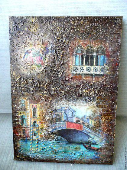 Панно, панно на холсте, панно микс медиа, панно на стену, панно в подарок, панно Венеция, панно для интерьера,купить панно, купить в Краснодаре, панно декупаж, MIXED MEDIA панно.