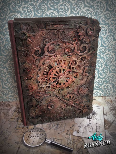 Steampunk Book Cover Diy ~ Andy skinner using chipboard to make an altered book