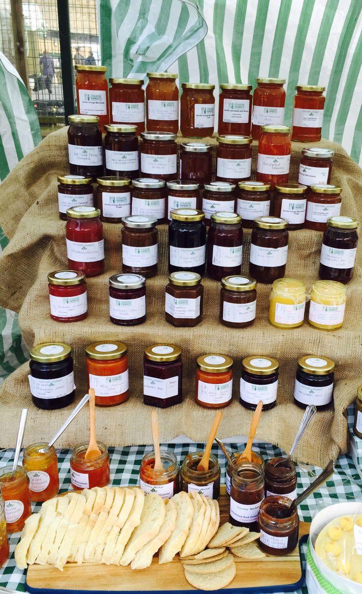 Homemade small batch marmalades, chutneys and jams sold by Country Market Stall at Headingley Farmers Market, Leeds