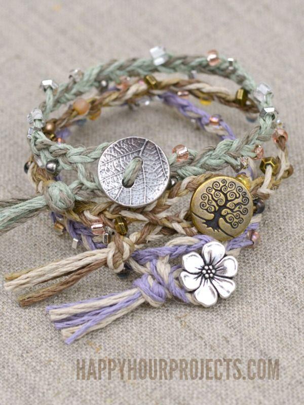 Diy button clasp hemp bracelets