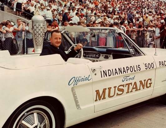 Indianapolis 500, Indianapolis, Indiana in 1965. Benson Ford in the 1965 Mustang pace car.