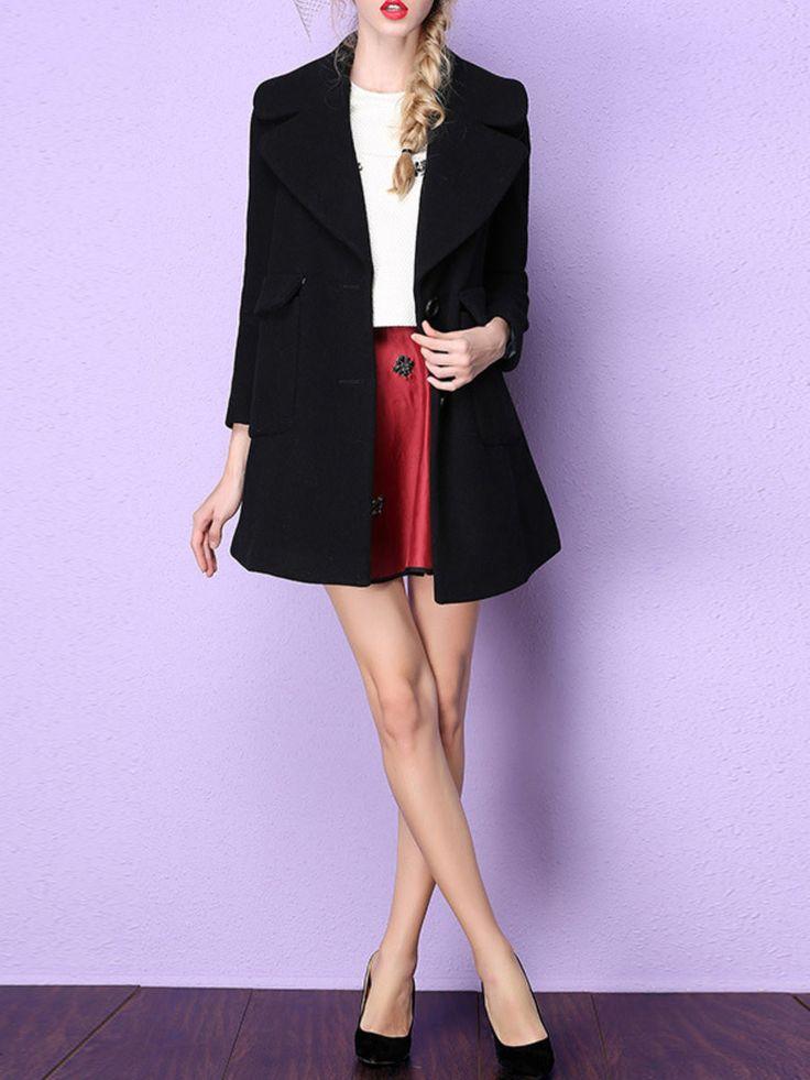 Black Plain Long Sleeve Buttoned Coat