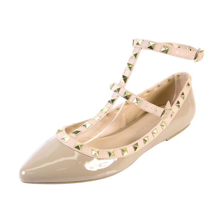 Wild Diva Lounge - Women's Pointy Studs Flats - Natural