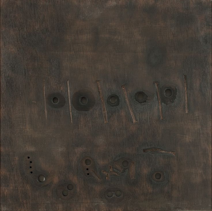 Jeram Patel Medium: Blowtorch and enamel paint on wood Size: 24 x 24 in.