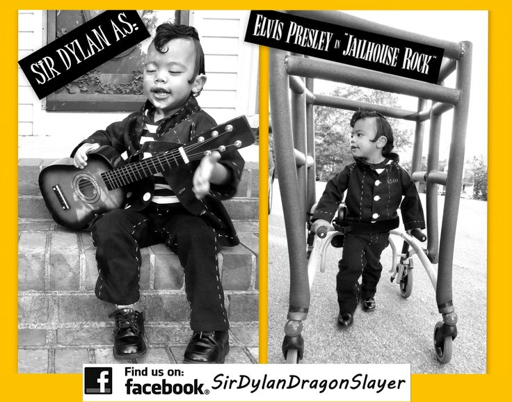 Dylan's Walker is a Jail for Jailhouse Rock!  Go Elvis! Since Dylan needs wheels to walk why not have fun with it? For folks looking for a Walker costume or Gait Trainer costume this works great! There are a lot of wheelchair costumes out there but few with walkers so please share the photos for others looking for inspiration. His iPad is on the back playing Jailhouse Rock as he struts his stuff! Find Sir Dylan Eli the Dragon-Slayer on Facebook! Special Needs Costume.