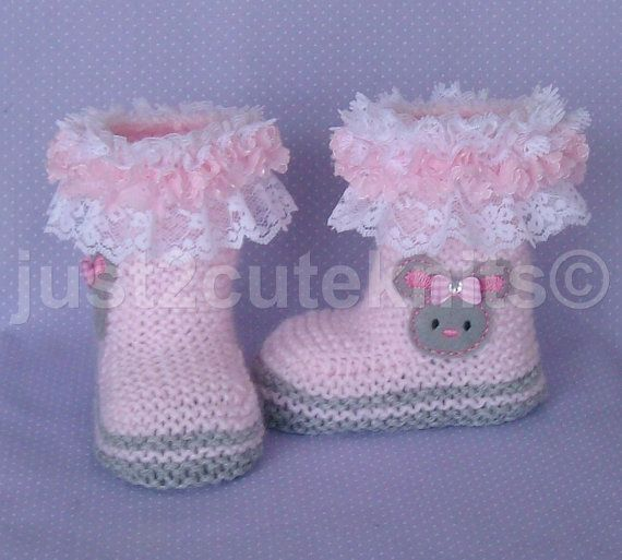 Hand Knitted baby Girls Bunny Boots/Booties by just2cuteknits