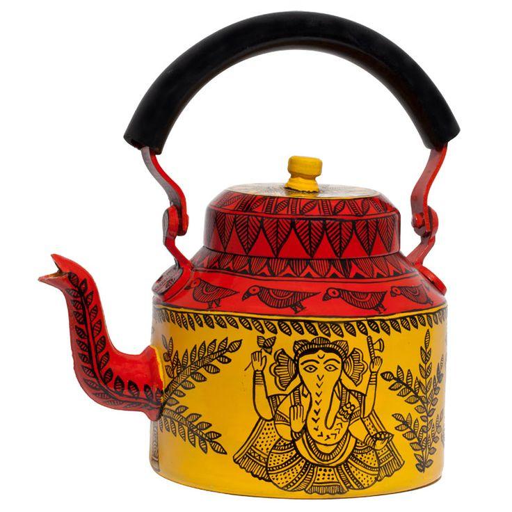 Ganesh Madhubani kettle Yellow