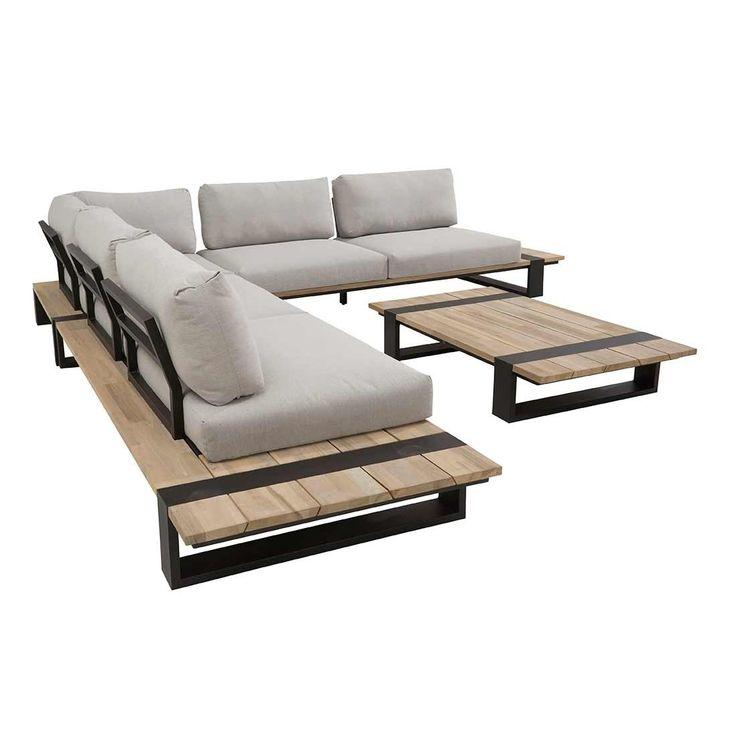 4Seasons Duke lounge area 4-piece aluminum / teak including cushions   – Terrasse / Outdoor Design