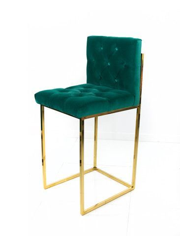 Sleek and stylish, these beautiful bar stools will add some class to your entertaining. Now offered in a lush emerald velvet, skillfully button tufted to add si