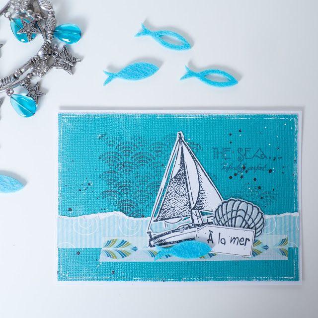 Une carte sur le thème de la mer avec bateau, poisson et coquillage. Blog L'abricolage. #scrapbooking #carterie #sea #mer #scrap #cardmaking #diy #faitmain #blue #bleu #boat #fish #maskingtape #seigaiha