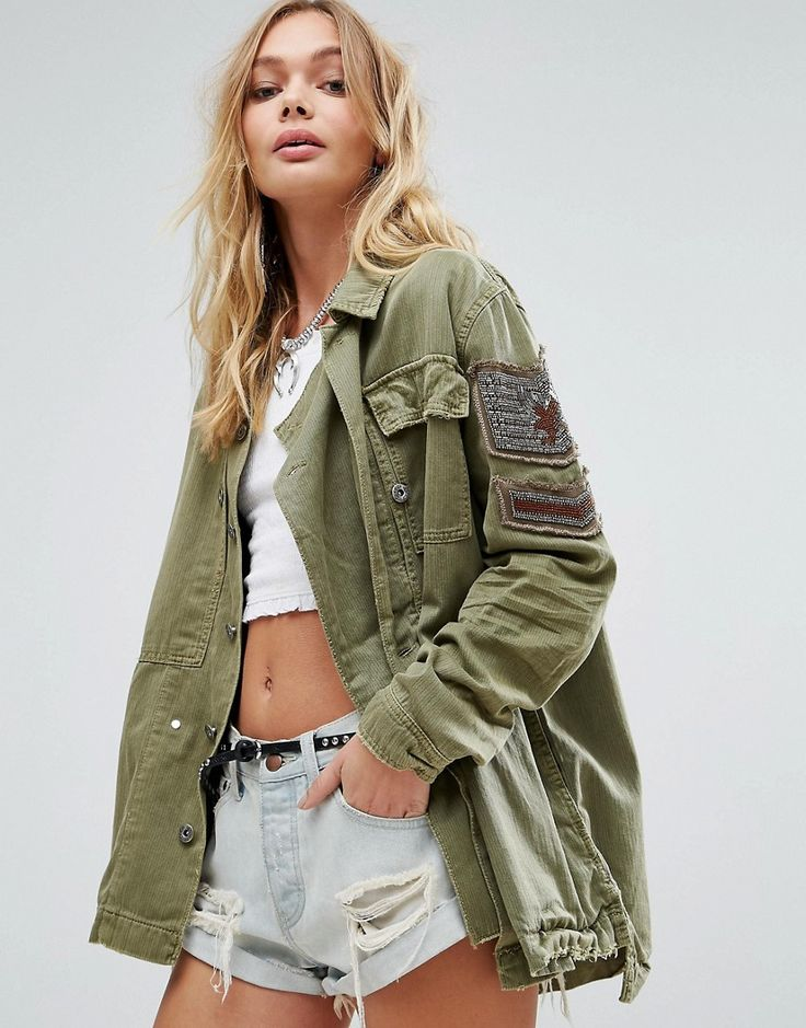 Get this Free People's spring jacket now! Click for more details. Worldwide  shipping. Free People Embellished Military Jacket - Green: Jacket by Free  People ...