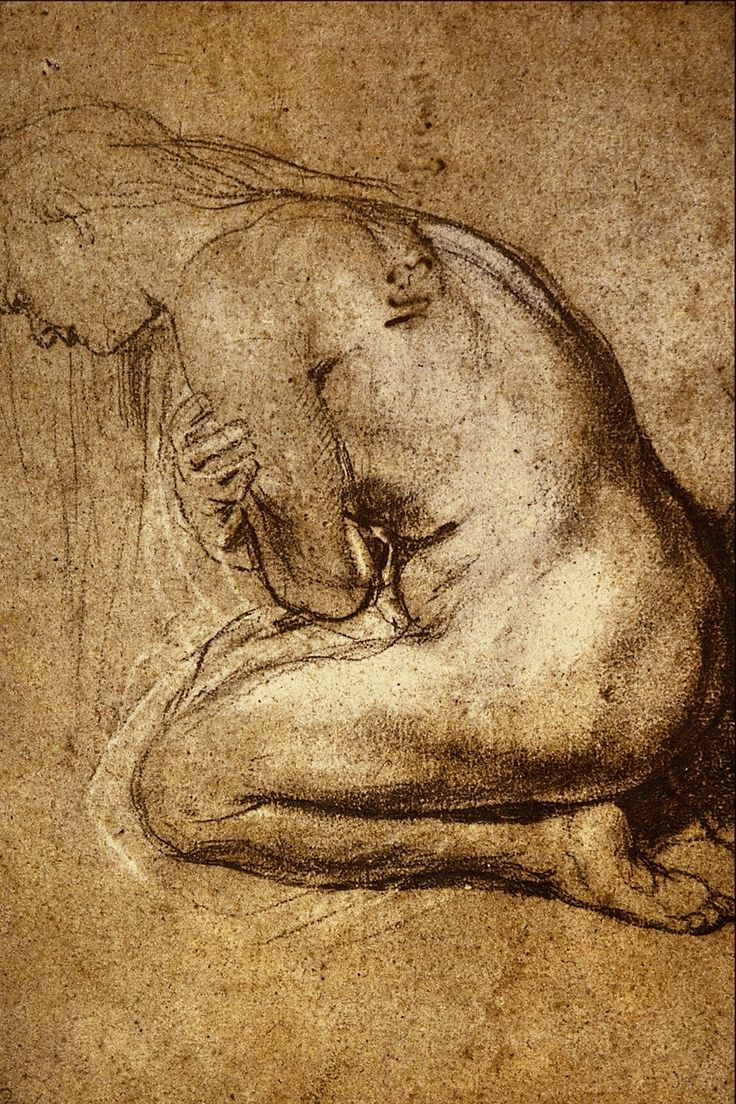 Peter Paul Rubens, Study for a Mary Magdalen. 1592-1640. Black chalk, heightened in white. 33.4 × 24.2 cm. London, British Museum.