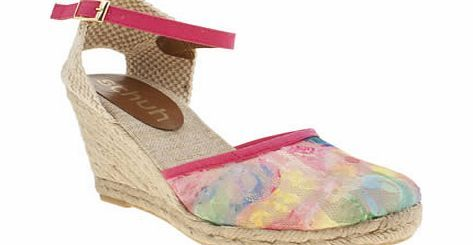 schuh Multi Fiesta Sandals The popular wedge espadrille from schuh arrives in a multi-coloured update and we think youll enjoy this Fiesta. The chic style features a colourful lace front section, with a pink ankle strap complem http://www.comparestoreprices.co.uk/womens-shoes/schuh-multi-fiesta-sandals.asp