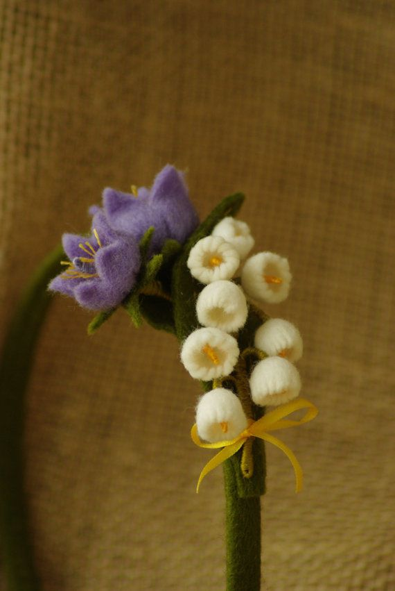 Headband of Lily of the valley made from 100% wool felt
