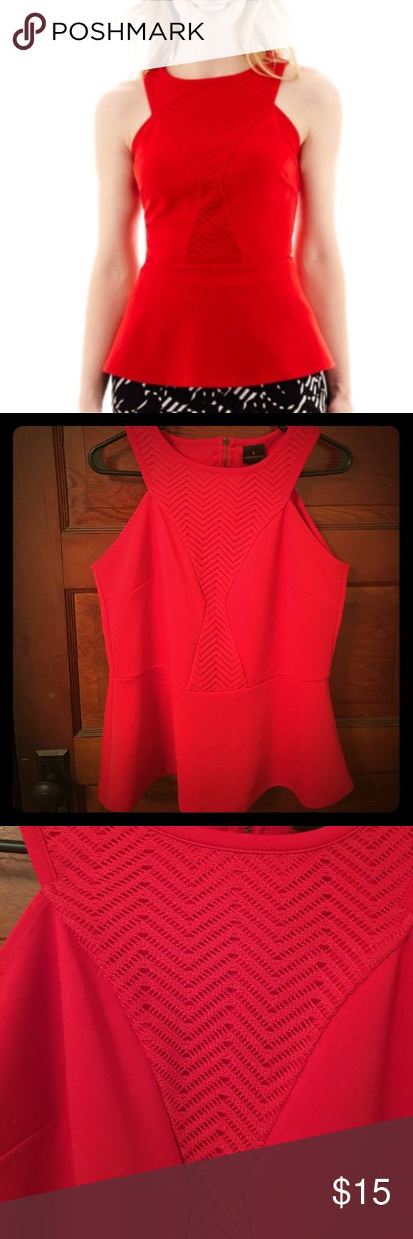 Red peplum top Exposed back zipper, lace like detailing. Polyester, spandex and cotton. Worthington Tops Tank Tops