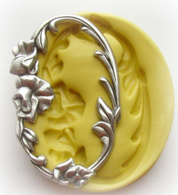 Victorian Frame Oval Flower Mold Silicone Resin Clay PMC Fondant Mould. $6.95, via Etsy.