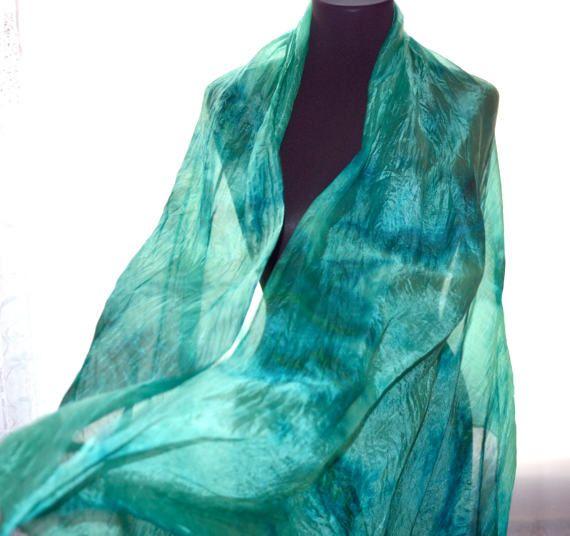 Silk scarf emerald green scarf ruffled scarf Hand от batikelena