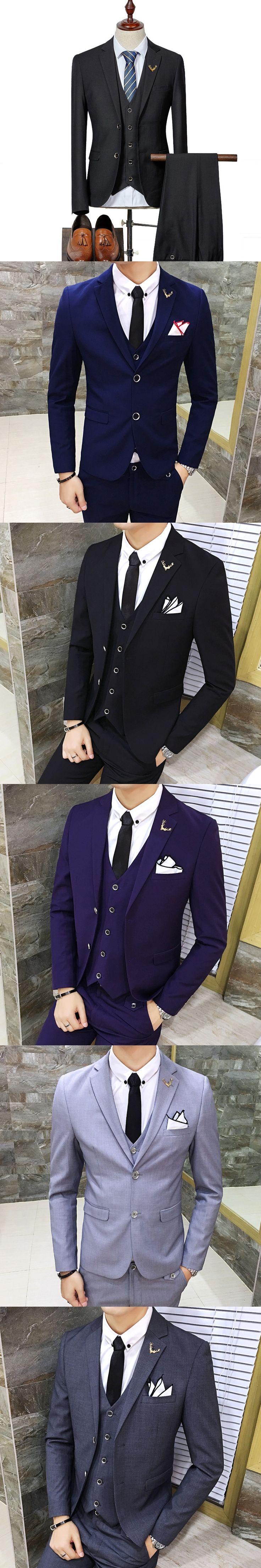 3 Pcs Solid Wedding Suits for Men 2017 Latest Coat Pant Designs Costume Mariage Homme Business Suit Men Slim Fit S-3XL