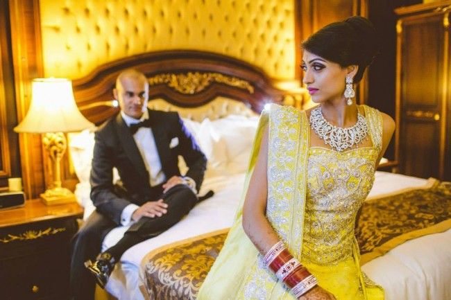 22 bridal yellow lengha jewelry portrait shot