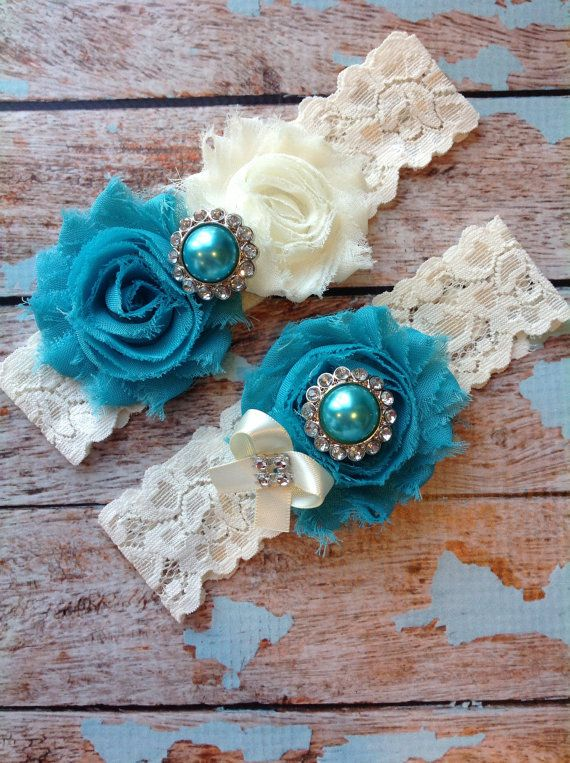 TURQUOISE  wedding garter set / bridal  garter/  lace garter / toss garter included /  wedding garter / vintage inspired  via Etsy