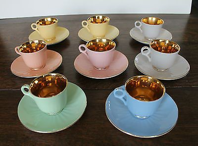 8 Figgjo Flint Norway Harlequin & Gold Coloured Coffee Cups & Saucers 1 Cup A/F