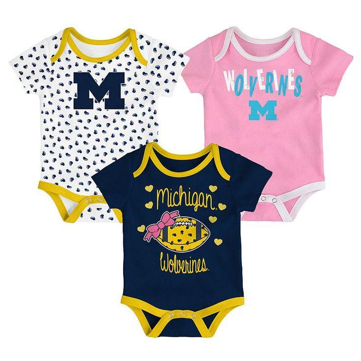 Baby Michigan Wolverines Heart Fan 3-Pack Bodysuit Set, Dark Blue