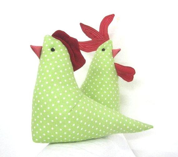 Hen and Rooster, crib toy, nursery toy, bedtime toy $28