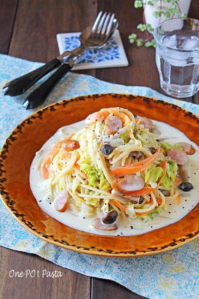 ワンポットで簡単!白菜とソーセージのクリームスープパスタ - ぱおの15分でできる♪忙しい日の簡単スピードごはん レシピブログ - 料理ブログのレシピ満載!