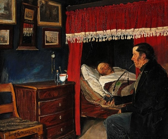 Laurits Andersen Ring (1854-1933): How are You, old friend. Interior with a man smoking a pipe while visiting an old sick friend, 1893