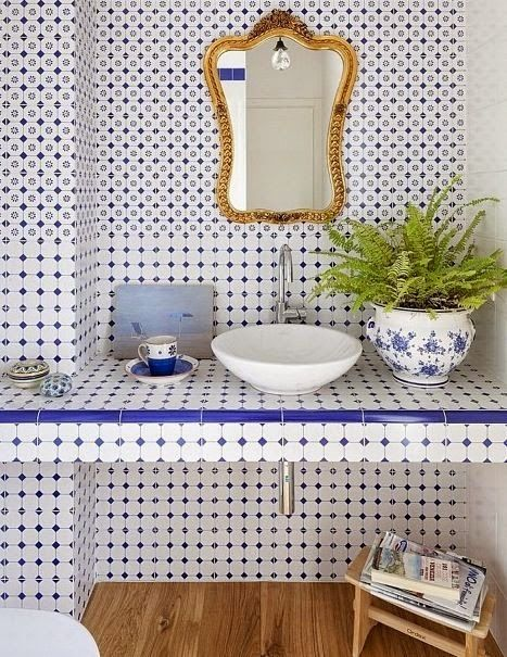 La maison boheme ode to blue green tile bathrooms for Blue green bathroom ideas