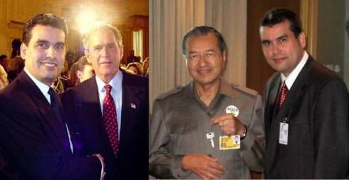William Rodriguez, 9/11 Hero and the last man out of the Towers, with President George W. Bush at White House award ceremony; with Malaysian Prime Minister Mahathir Mohamad at a private 9/11 presen...