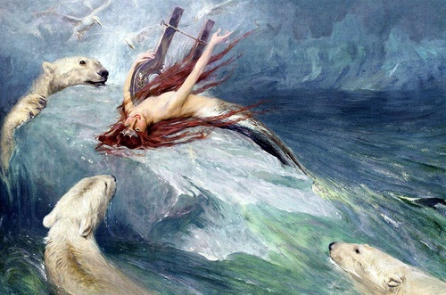 Arthur Wardle, The Lure of the North, 1912: Water, Polar Bears, Mermaids, Sea, North, Painting