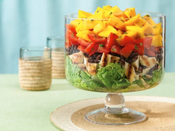 Layered Caribbean Chicken Salad .. one of my favorite salads! The dressing alone is worth the recipe! Other add-in options are corn, red peppers, avocado, red onion, tortilla chips, etc... Note: This is one of my favorite summer dinner recipes!!