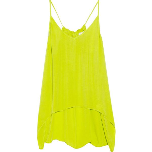 Mason by Michelle Mason Washed-silk tank ($140) ❤ liked on Polyvore featuring tops, shirts, tanks, tank tops, blusas, racerback tank top, lime green tank top, yellow shirts, yellow tank top and silk shirt