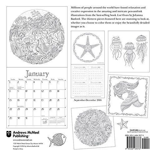 Johanna Basford Lost Ocean Official Calendar 2017