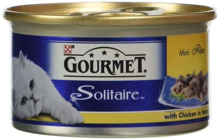 Gourmet solitaire wet cat food chicken in a white sauce