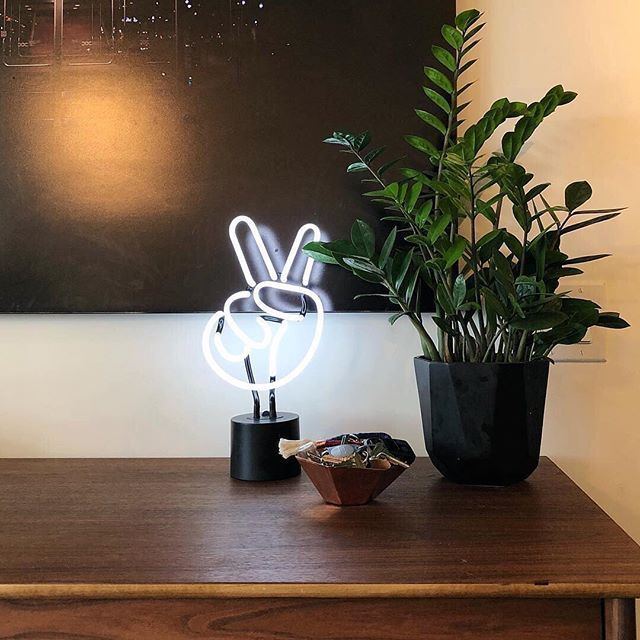 We've reached that point in our lives where happy hour is coming home, turning on the neon and crawling into bed. ✌️ #inneonwetrust  Shot by @nicole__alexandra • #myhomevibe #myeclecticmix #uohome #homegoodshappy #uooncampus #peacelovelight #homedecorlovers #inspiremyinstagram #moodygram  #Regram via @ampedandco