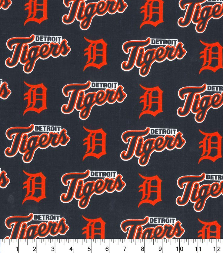 """Detroit Tigers Cotton Fabric 58"""" - All Over"""