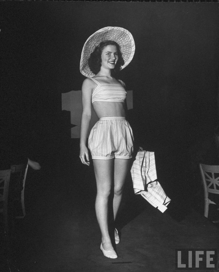 A teenager modeling a  playsuit designed by Emily Wilkens, 1946, Photographed by Herbert Gehr