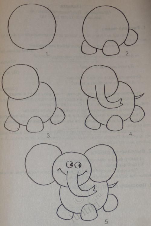 Children and creativity. Elementary drawing lessons for kids - A Little Elephant