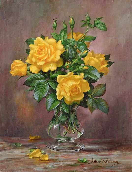 Ab303 Radiant Yellow Roses by Albert Williams