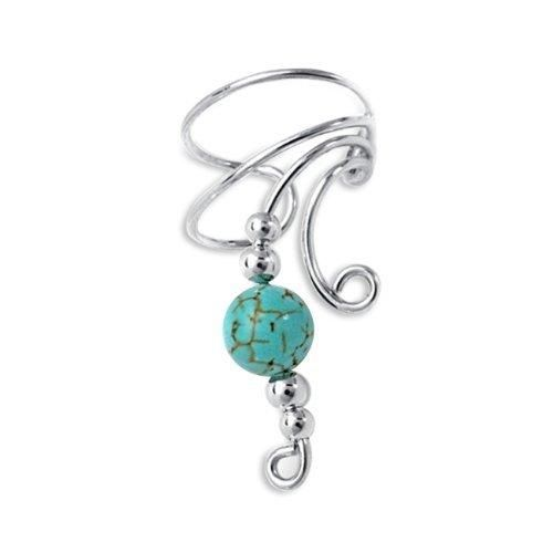 Bling Jewelry Genuine Turquoise Ear Cuff Right Ear Long Wave 925 Sterling Silver