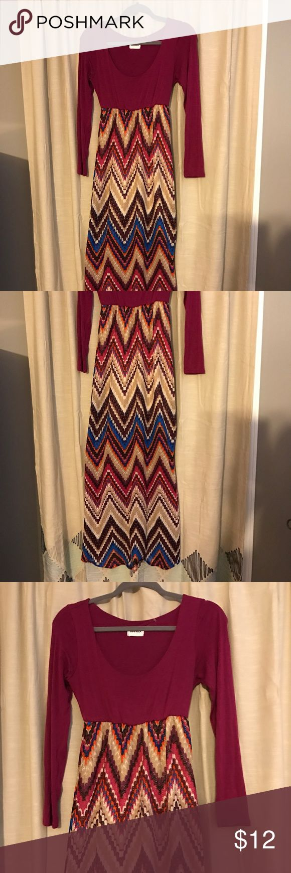 Maroon/chevron maxi Gently used, small Style Rock Dresses Maxi