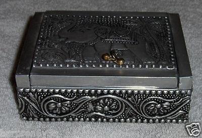 Vtg Elephant Trinket Box Silver Toned Metal Elephant Jewelry Box Trunks Up on eBay!