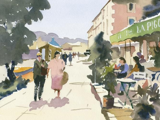 Paint with artist Jake Winkle - 'Figures walking by river, Coulon, France'