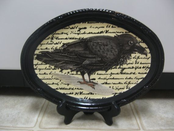 Halloween Decorations-Fall Decor-Halloween Decor-Halloween Shelf Sitter-Quoth The Raven Nevermore Halloween Tray-Quote The Raven Nevermore