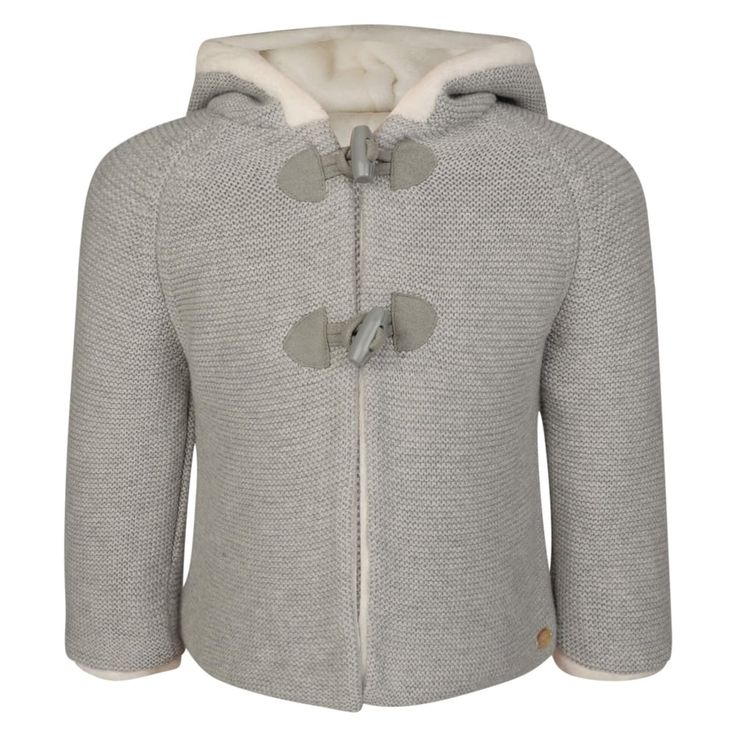 Tartine Et Chocolat Baby Girls Grey Knitted Jacket with Cream Faux Fur Lining