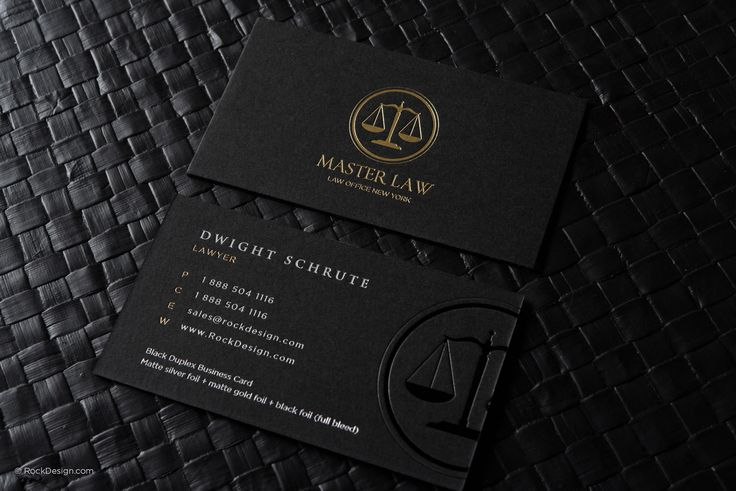 Classic modern black duplex attorney business card template - Master Law | RockDesign Luxury Business Card Printing